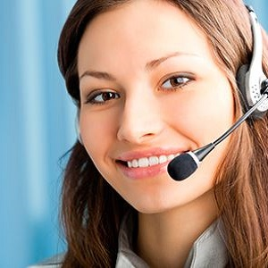 Customer support personnel wearing headset with microphone